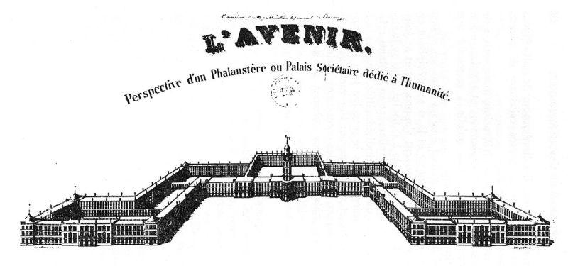 Vedere în perspectivă a unui falanster, așa cum și-l imaginase Charles Fourier. Zona rurală nu este văzută pe desen - foto preluat de pe ro.wikipedia.org
