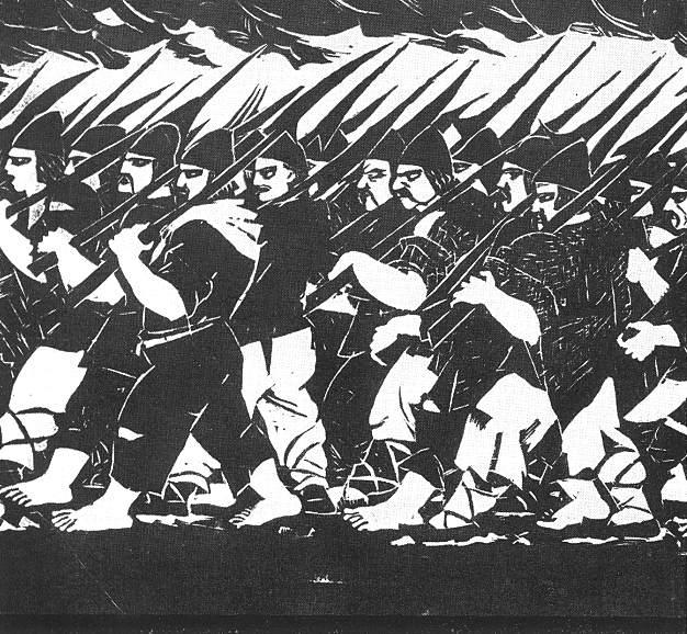 Războiul ţărănesc condus de Gheorghe Doja (9 aprilie - 15 iulie 1514) - Pictură de Gyula Derkovits - foto preluat de pe ro.wikipedia.org