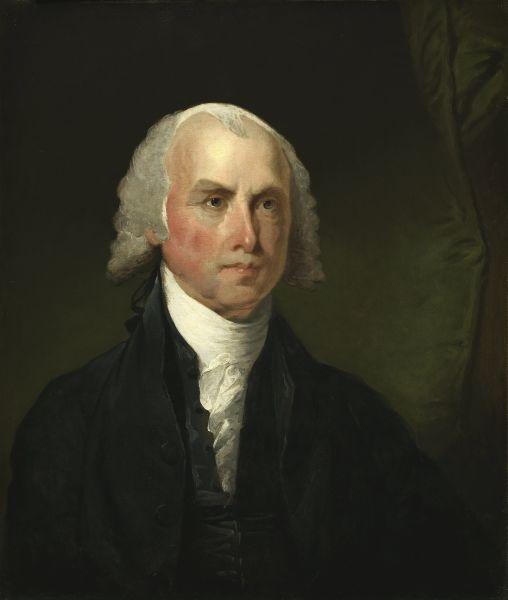 James Madison (n. 16 martie 1751 - d. 28 iunie 1836) a fost cel de-al patrulea (1809 - 1817) preşedinte al Statelor Unite ale Americii - in imagine, Portrait of James Madison c. 1821, by Gilbert Stuart - foto preluat de pe ro.wikipedia.org