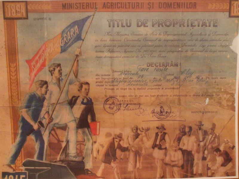 Titlu de proprietate acordat cu ocazia reformei agrare din 1945 - foto preluat de pe ro.wikipedia.org
