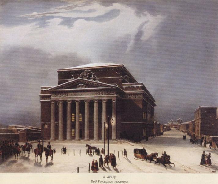 The old Bolshoi Theatre in the early 19th century -foto preluat de pe en.wikipedia.org