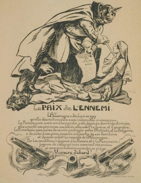 Caricatură politică franceză: Kaiserul german, cu piciorul pe cadavrul unui rus (Rusia), amenință cu un pumnal o femeie (România), ca să semneze tratatul de pace - foto preluat de pe ro.wikipedia.org