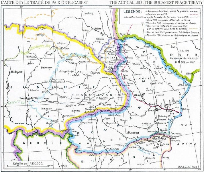 """Hartă din Atlasul """"Pământului românesc de-a lungul vremilor"""" de N.P. Comnenul, 1920: România la tratatul de la Bucureşti (albastru); la vest de linia roşie, zona ocupată de Puterile Centrale - foto preluat de pe ro.wikipedia.org"""