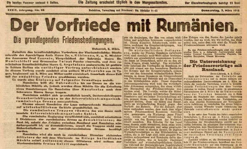 Anunţ privind încheierea păcii preliminare de la Buftea din 24 februarie/5 martie 1918 - foto preluat de pe ro.wikipedia.org