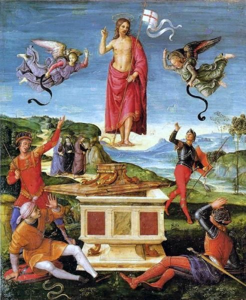 The Resurrection of Jesus Christ (Kinnaird Resurrection) by Raphael, from 1499 until 1502 - foto preluat de pe en.wikipedia.org