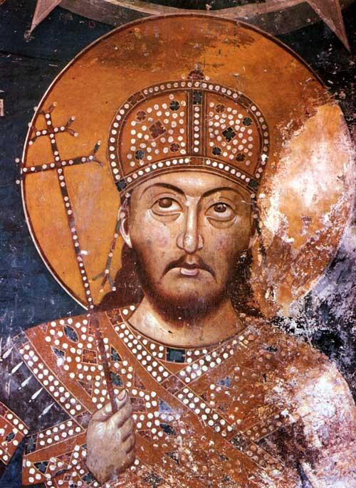 """Ștefan Uroș IV Dușan al Serbiei (aprox.1308 – 20 decembrie 1355), a fost regele Serbiei (din 8 septembrie 1331) iar titulatura oficială era de """"Bazileu și autocrat al sârbilor și romanilor"""" din 16 aprilie 1345 - Detail of fresco in the Lesnovo monastery, c. 1350 - foto preluat de pe en.wikipedia.org"""