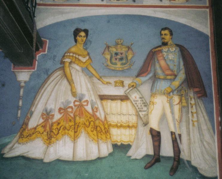 Al. I. Cuza şi Doamna Elena - pictură din Biserica Domnească de la Ruginoasa - foto preluat de pe ro.wikipedia.org