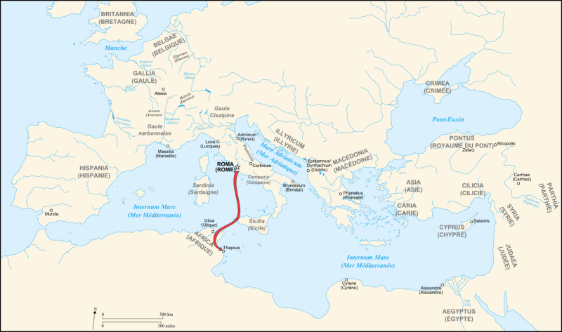 Battle of Thapsus (April 6, 46 BC) - Part of Caesar's Civil War - Thapsus in relation to Rome - foto preluat de pe en.wikipedia.org