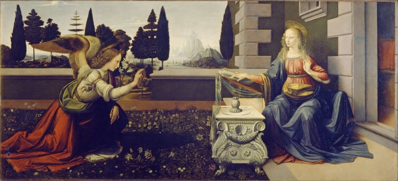 """Buna Vestire (""""Annunciation"""" - Leonardo da Vinci, 1475-1480) una din primele lucrări ale lui Leonardo da Vinci, Uffizi, 98x217 cm - foto preluat de pe ro.wikipedia.org"""