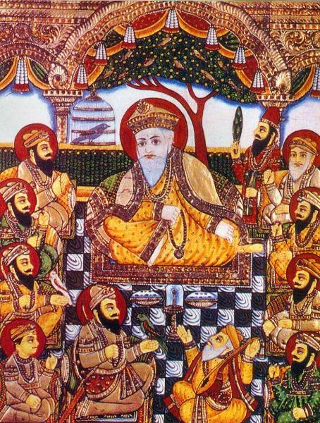 Guru Nanak Dev (15 noiembrie 1469 - 22 septembrie 1539) a fost primul din cei zece Guru ai sikhismului şi întemeietorul acestei religi - Guru Nanak with Bhai Bala and Bhai Mardana and Sikh Gurus - foto preluat de pe ro.wikipedia.org