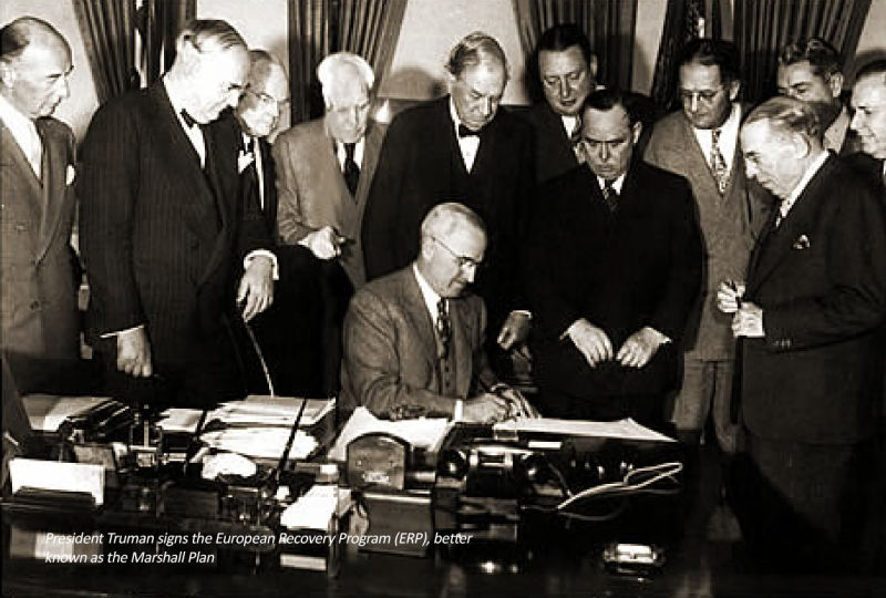 President Truman signs the European Recovery Program (ERP), better known as the Marshall Plan - foto preluat de pe beyondplanb.eu