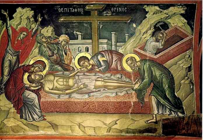 Plângerea la mormânt, Sf. Mănăstire Stavronikita, Muntele Athos, jumătatea sec. al XVI-lea - foto preluat de pe ro.orthodoxwiki.org