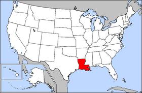 Harta Statelor Unite cu statul Louisiana indicat - foto preluat de pe ro.wikipedia.org