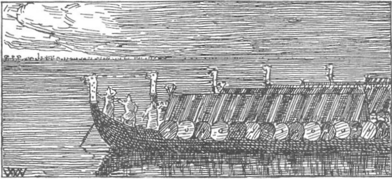 Norwegian ships in the Battle of Niså, imaged by Wilhelm Wetlesen, 1899 edition of Heimskringla - foto preluat de pe en.wikipedia.org