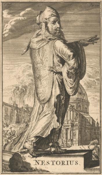 Nestorie sau Nestorius (n. c. 386 — d. 451) a fost un patriarh al Constantinopolului (428 - 431), care a dezvoltat doctrina ce-i poartă numele, nestorianismul, considerată drept eretică de către tabăra proto-ortodoxă. A fost condamnat de Sinodul III ecumenic de la Efes din anul 431 - Nestorius as envisioned by the 17th century Dutch printmaker Romeyn de Hooghe, in the book History of the church and heretics - foto preluat de pe en.wikipedia.org