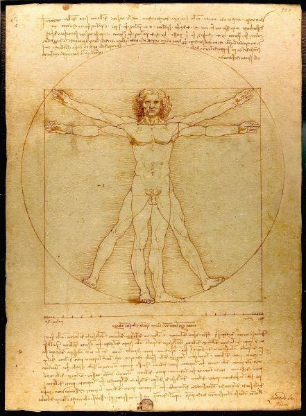 """""""Omul Vitruvian"""" - Leonardo da Vinci - cca.1485 - Academia, Veneţia - foto preluat de pe ro.wikipedia.org"""