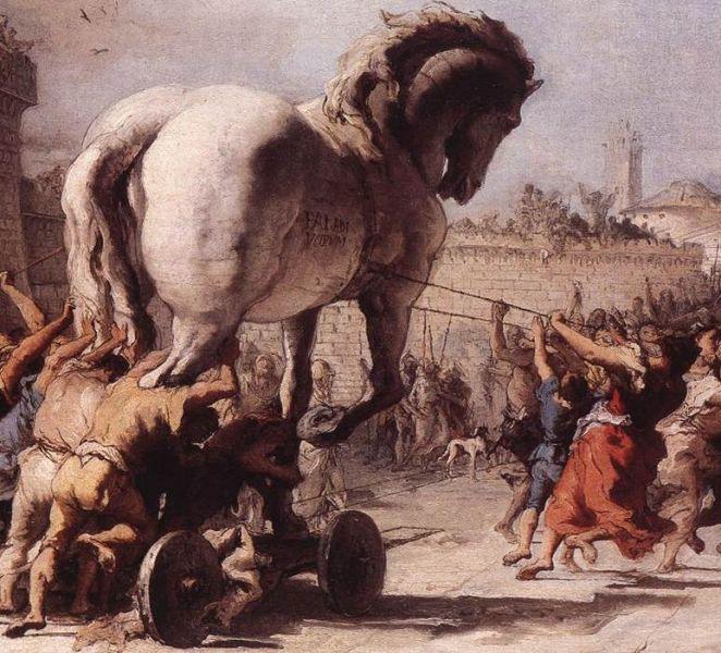 """""""Războiul troian"""" La  24 aprilie 1184 i.Hr, potrivit legendei, grecii intră în Troia folosind un cal - foto preluat de pe ro.wikipedia.org"""