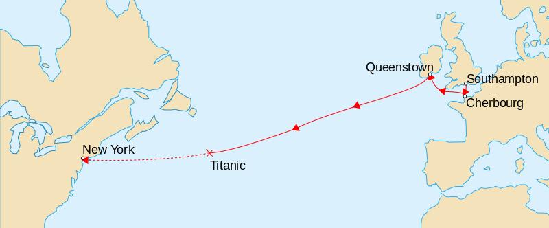 Ruta navei Titanic - foto preluat de pe ro.wikipedia.org