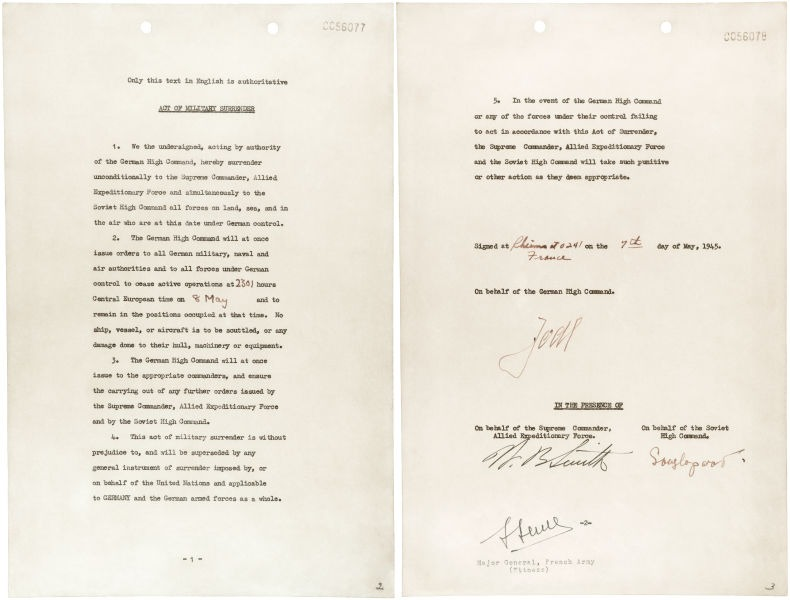 Actul capitulării Germaniei (07 - 08 mai 1945) - The German Instrument of Surrender signed at Reims, 7 May 1945 - foto preluat de pe en.wikipedia.org