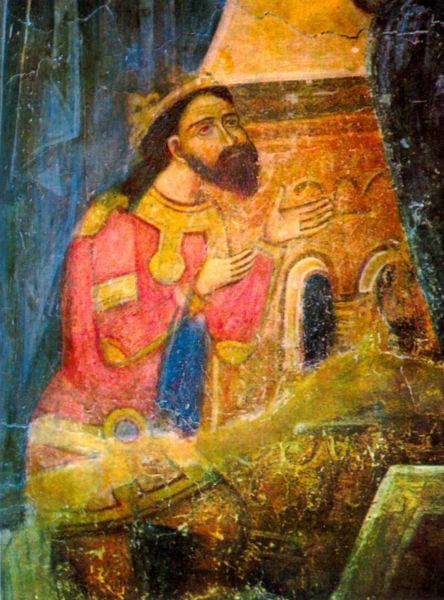"""Basarab I (numit în documentele medievale de asemenea Ivanco Basarab, Bassaraba şi Bazarad), supranumit în epoca modernă Basarab Întemeietorul, este considerat fondatorul Ţării Româneşti. A domnit între anii ~1310 - 1352. A fost fiul lui Tihomir sau Thocomerius, potrivit unui document oficial emis în 1332 de regele Ungariei Carol Robert d'Anjou care, după Bătălia de la Posada din noiembrie 1330, îl răsplătea pe comitele Laurentius din Zarand pentru vitejia sa din acea bătălie. Textul respectivei diplome conţine menţiunea """"Basarab, filium Thocomerii, scismaticum, infidelis Olahus Nostris"""" (""""pe Basarab, fiul lui Thocomerius...""""). O traducere mai completă oferă Cornel Bîrsan, în Istorie Furată. Cronica Românească de Istorie Veche: """"Basarab era fiul lui Tatomir (Thocomeri), de religie ortodox (schismatic), infidel, dar Olah (Român)"""" - frescă din Biserica Domnească din Curtea de Argeş - foto preluat de pe ro.wikipedia.org"""