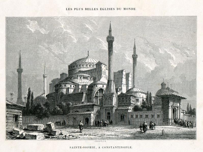 Catedrala Sfânta Sofia din Constantinopol - (Lithography 1857 year) - foto preluat de pe en.wikipedia.org