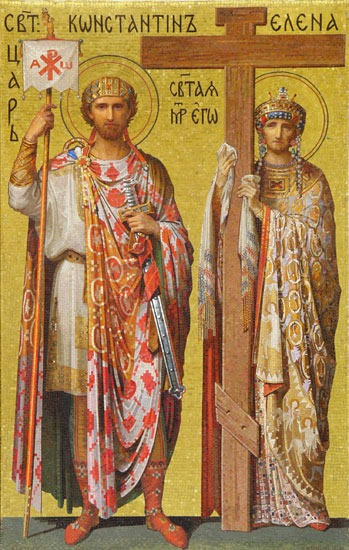 Constantine and Helena. Mosaic in Saint Isaac's Cathedral, Peterburg, Russia - foto preluat de pe en.wikipedia.org