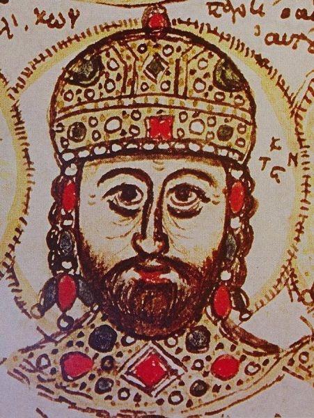 Constantin al XI-lea Paleologul (Konstantínos Dragásis Paleológos Κωνσταντῖνος Δραγάσης Παλαιολόγος, n. 8 februarie 1404, Constantinopol, Imperiul Roman de Răsărit – d. 29 mai 1453, Constantinopol, Imperiul Otoman) a fost din 1449 până în 1453 ultimul împărat bizantin şi a murit la cucerirea Constantinopolului (1453). Numele Dragases este derivat din numele mamei sale Eelena Dragaš, Dragaš fiind familie nobilă sârbă. Konstantínos a fost succesorul fratelui său Ioan al VIII-lea Paleologul - (Constantine XI Palaiologos, miniature portrait from the Biblioteca Estense copy of the history of John Zonaras) foto preluat de pe ro.wikipedia.org