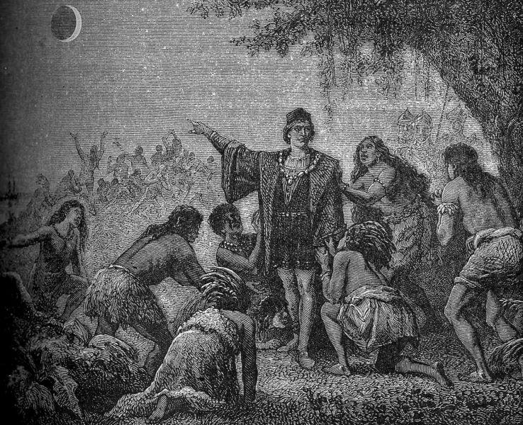 Eclipsa de Lună din 1 martie 1504 a fost o eclipsă totală de Lună, care a început să se producă, în America, îndată după apusul Soarelui din 29 februarie 1504. Cristofor Columb, vrând ca indigenii din Jamaica să continue să-i aprovizioneze echipajul înfometat, a reușit să-i intimideze prezicând corect producerea acestei eclipse, denumită adesea, din această cauză, eclipsa lui Columb - foto preluat de pe ro.wikipedia.org