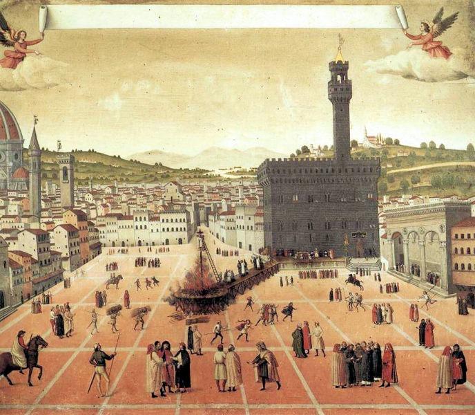 """""""Supliciul lui Savonarola"""" în Piazza della Signoria (23 mai 1498:) - Tablou de un pictor necunoscut - foto preluat de pe ro.wikipedia.org"""