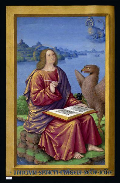 Ioan Evanghelistul (în ebraică יוחנן, Yoḥanan; n. 10 e.n., Bethsaida[*], Israel – d. 98 e.n., Efes, Turcia) este numele convenţional pentru autorul Evangheliei după Ioan. În mod tradiţional a fost considerat una şi aceeaşi persoană cu apostolul Ioan. Simbolul său este vulturul  - Miniature of Saint John from the Grandes Heures of Anne of Brittany (1503–8) by Jean Bourdichon - foto preluat de pe ro.wikipedia.org