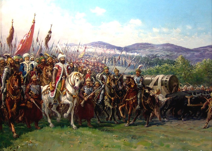 Modern painting of Mehmed and the Ottoman Army approaching Constantinople with a giant bombard, by Fausto Zonaro - foto preluat de pe ro.wikipedia.org