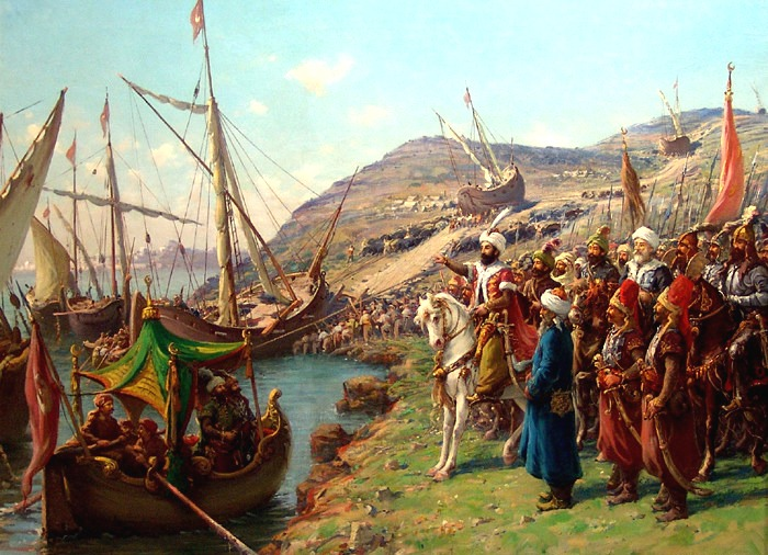 Căderea Constantinopolului (29 mai 1453) - The Ottoman Turks transport their fleet overland into the Golden Horn - foto preluat de pe ro.wikipedia.org