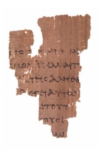 Papirusul P52 (mijlocul sec. al II-lea), cea mai veche mărturie a Evangheliei după Ioan - foto preluat de pe ro.wikipedia.org