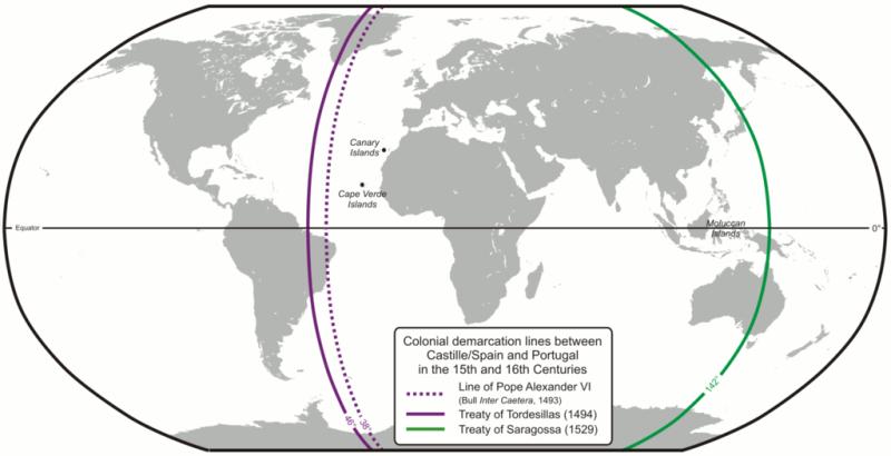 Tratatul de la Tordesillas - Linia de demarcaţie de după tratatul spaniolo-portughez, în sec. XV–XVI - foto preluat de pe ro.wikipedia.org