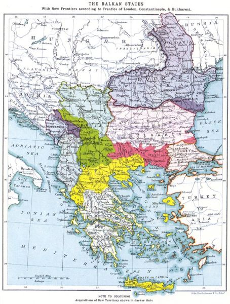 The Balkan boundaries after 1913 - foto preluat de pe ro.wikipedia.org