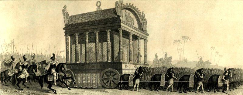 Funeraliile lui Alexandru cel Mare (n. 20 iulie 356 î.e.n. – d. 10 iunie 323 î.e.n) conform scrierilor lui Diodorus - foto preluat de pe ro.wikipedia.org