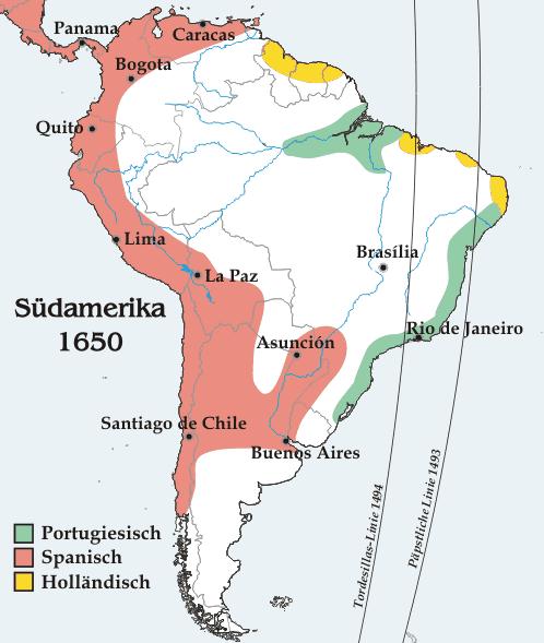 America de Sud în 1650 - foto preluat de pe ro.wikipedia.org