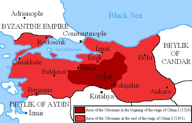Battle of Pelekanon (June 10–11, 1329) - Map of Ottoman expansion under Orhan - foto preluat de pe en.wikipedia.org