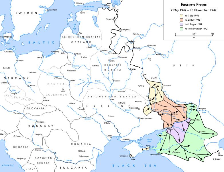 Frontul de răsărit în timpul bătăliei de la Voronej (22 iunie – iulie 1942) - foto preluat de pe ro.wikipedia.org