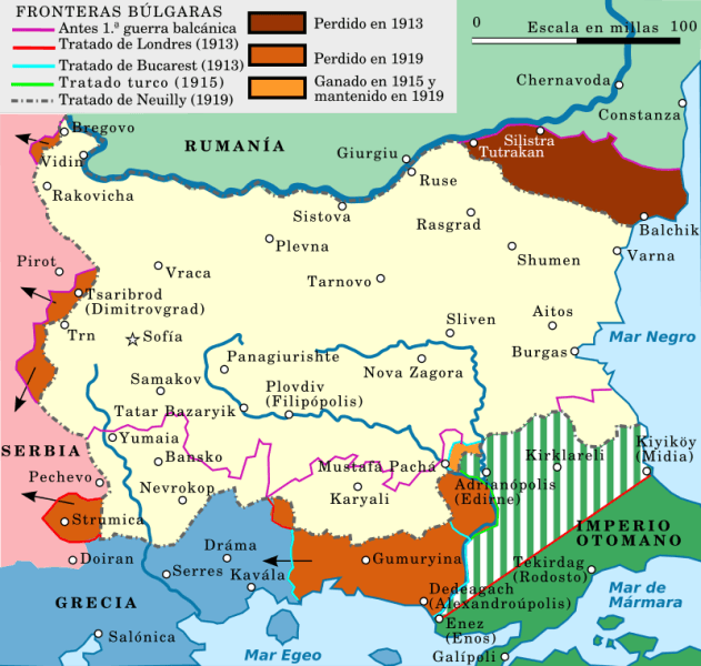 Bulgaria's territorial changes in the early 20th century - foto preluat de pe ro.wikipedia.org