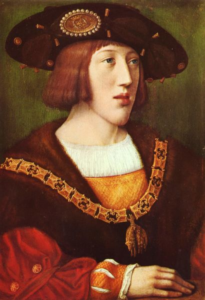 Carol al V-lea (n. 24 februarie 1500 – d. 21 septembrie 1558) a fost împărat romano-german din 1519, până la abdicarea sa în 1556 - Portret al tânărului Carol V - foto preluat de pe ro.wikipedia.org