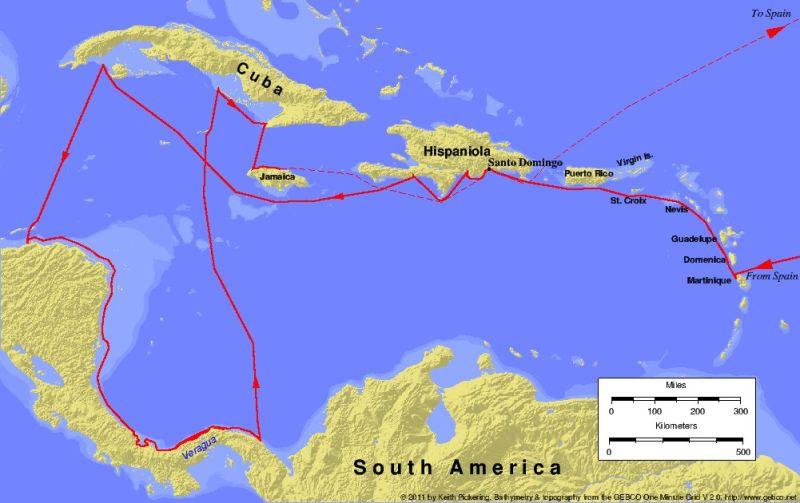 Columbus's fourth voyage - foto preluat de pe en.wikipedia.org