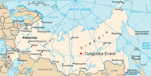 Hartă reprezentând locația aproximativă a Fenomenului Tunguska din 1907 -  foto preluat de pe ro.wikipedia.org