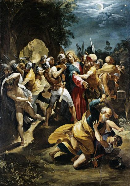 Apostle Peter striking the High Priests' servant Malchus with a sword in the Garden of Gethsemane, by Giuseppe Cesari c. 1597 - foto preluat de pe en.wikipedia.org