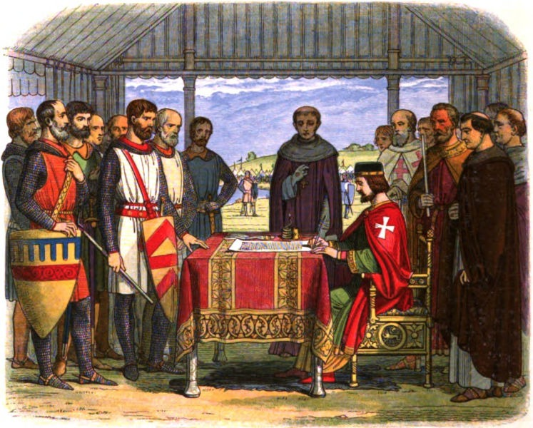 A romanticised 19th-century recreation of King John signing Magna Carta - foto preluat de pe en.wikipedia.org