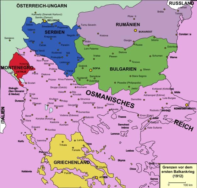 Political boundaries in the Balkans before the First Balkan War - foto preluat de pe en.wikipedia.org