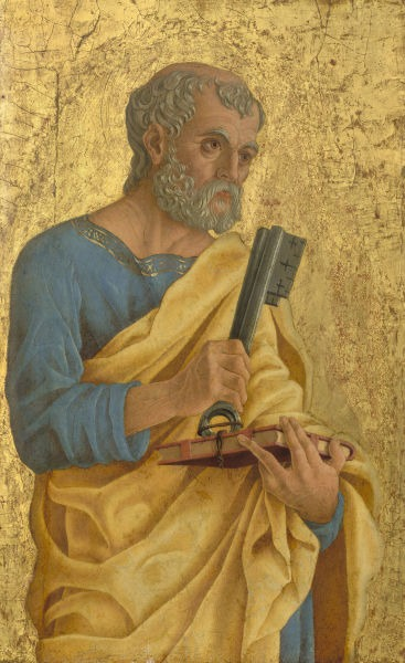 Saint Peter (c. 1468) by Marco Zoppo depicts Peter as a man holding the Keys of Heaven and a book representing the gospel - foto preluat de pe en.wikipedia.org