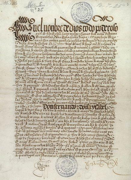 Tratatul de la Tordesillas (7 iunie 1494) - Prima pagină a tratatului, Biblioteca Naţională a Lisabonei - foto preluat de pe ro.wikipedia.org
