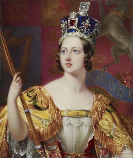 Victoria Alexandrina (n. 24 mai 1819, Londra - d. 22 ianuarie 1901, Isle of Wight) a fost regina Regatului Unit al Marii Britanii şi Irlandei din 1837 până în 1901, împărăteasă a Indiilor, din 1877 până în 1901, şi stăpână a celor 28 de colonii britanice - Portret la încoronare de George Hayter - foto preluat de pe ro.wikipedia.org