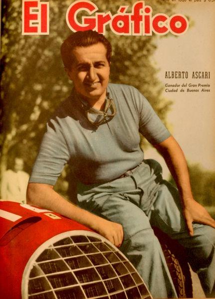 Alberto Ascari, (născut 13 Iulie 1918 - decedat 26 Mai 1955), a fost un pilot de Formula 1, campion mondial în 1952 si 1953 cu Scuderia Ferrari - El Grafico del 06 de Enero de 1950. Edicion 1587 - foto preluat de pe ro.wikipedia.org